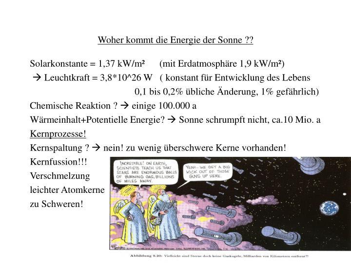 Woher kommt die Energie der Sonne ??