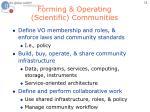 forming operating scientific communities