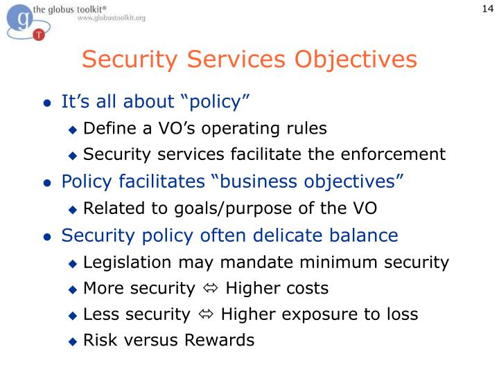 Security Services Objectives