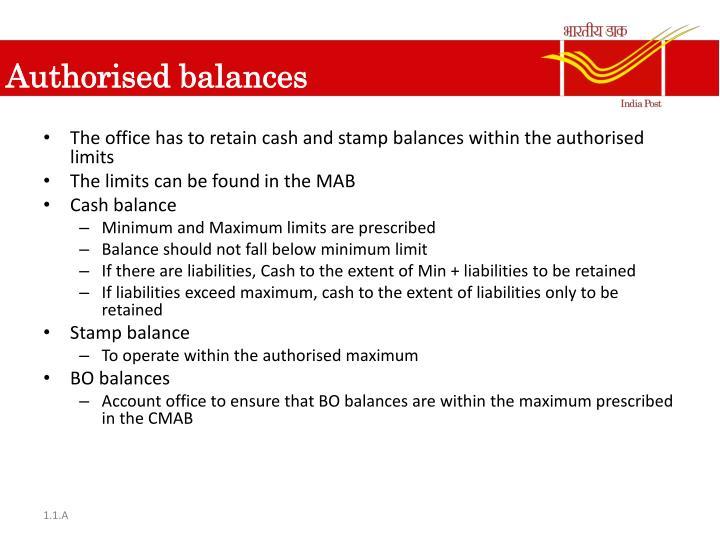 Authorised balances