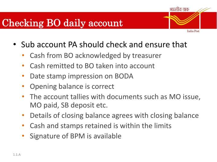 Checking BO daily account