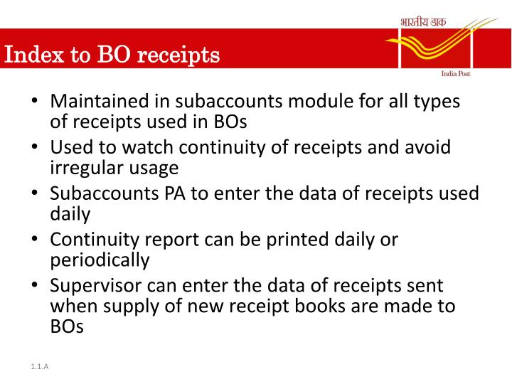 Index to BO receipts
