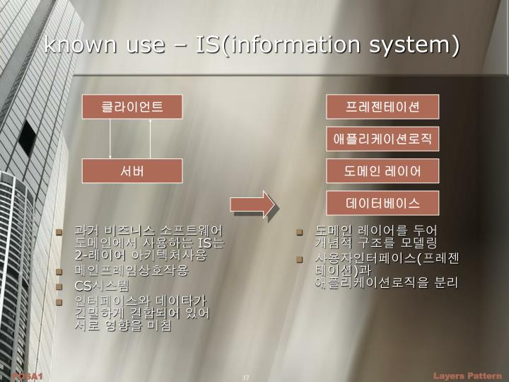 known use – IS(information system)
