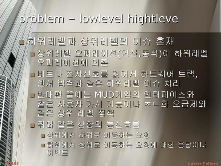 problem – lowlevel hightleve