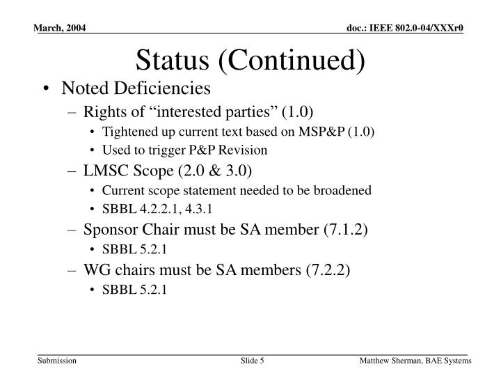 Status (Continued)