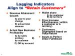 lagging indicators align to retain customers
