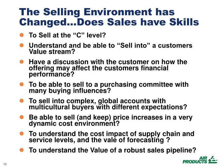 The Selling Environment has Changed...Does Sales have Skills