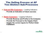 the selling process at ap two distinct sub processes