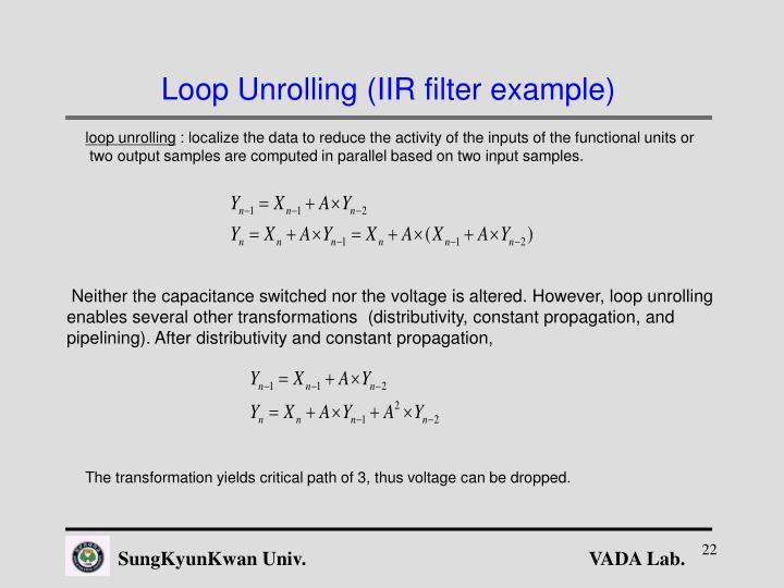 Loop Unrolling (IIR filter example)