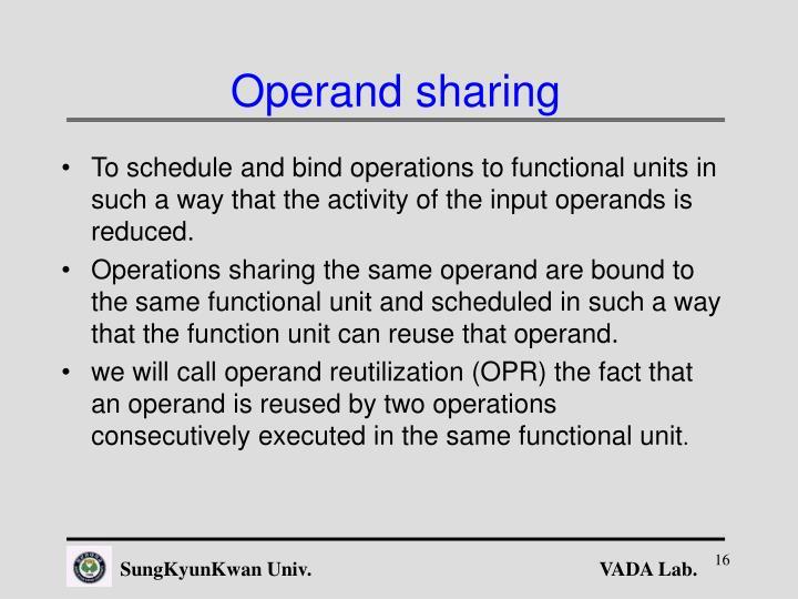 Operand sharing
