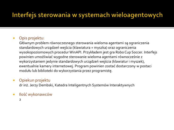 Interfejs sterowania w systemach