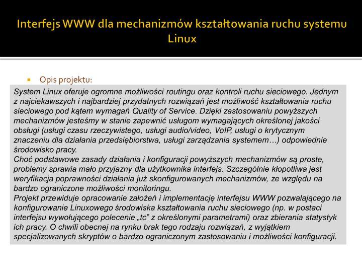 Interfejs WWW dla mechanizmów kształtowania ruchu systemu Linux