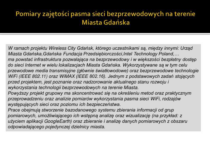 Pomiary zajętości pasma sieci bezprzewodowych na terenie Miasta Gdańska