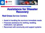 assistance for disaster recovery