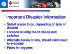 important disaster information