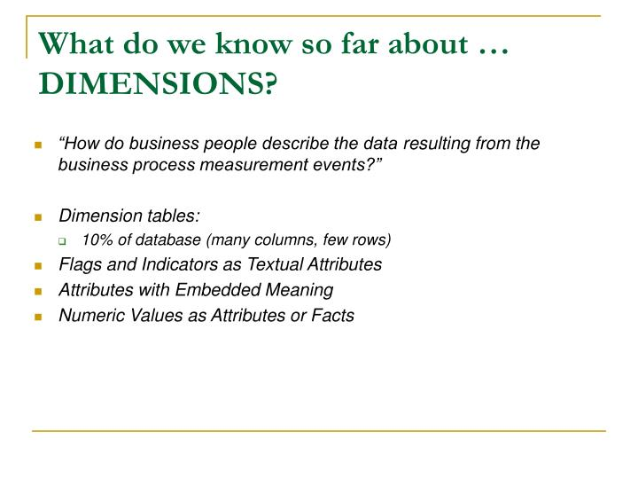 What do we know so far about … DIMENSIONS?