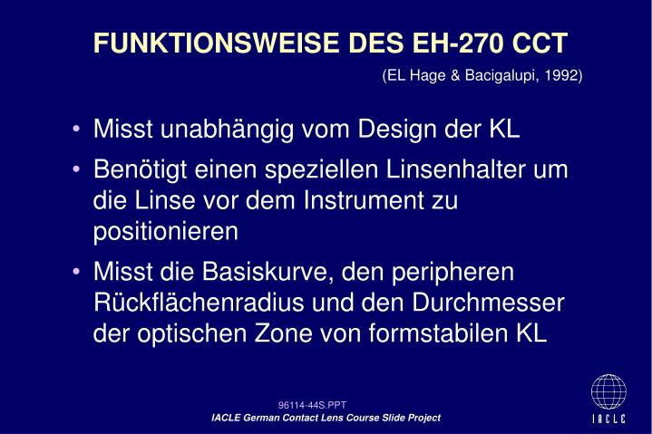 FUNKTIONSWEISE DES EH-270 CCT