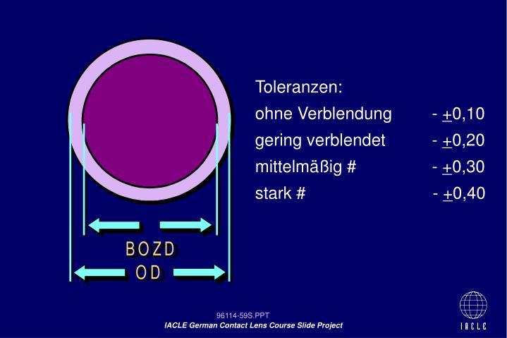 Toleranzen: