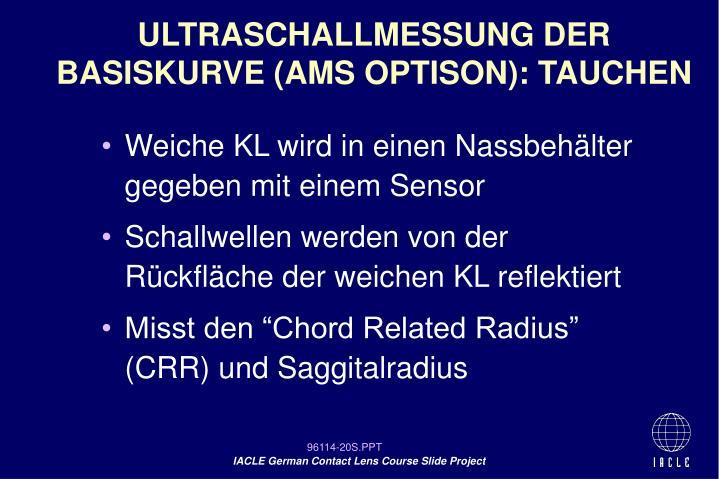 ULTRASCHALLMESSUNG DER BASISKURVE (AMS OPTISON): TAUCHEN