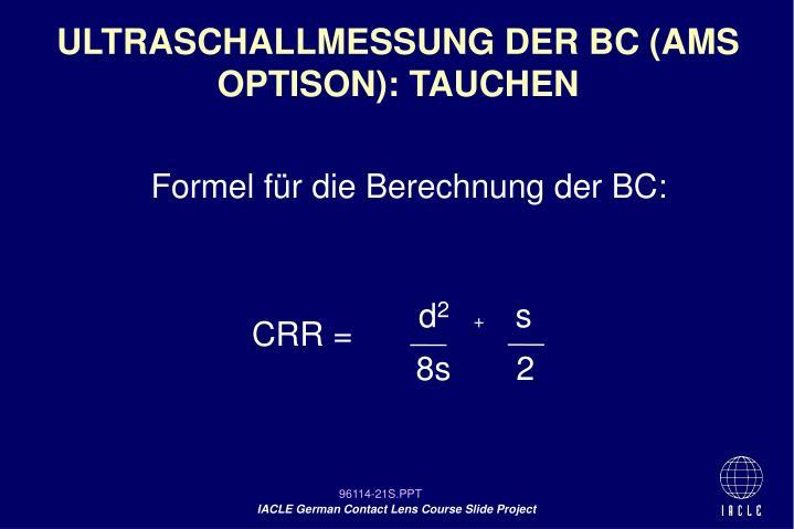 ULTRASCHALLMESSUNG DER BC (AMS OPTISON): TAUCHEN