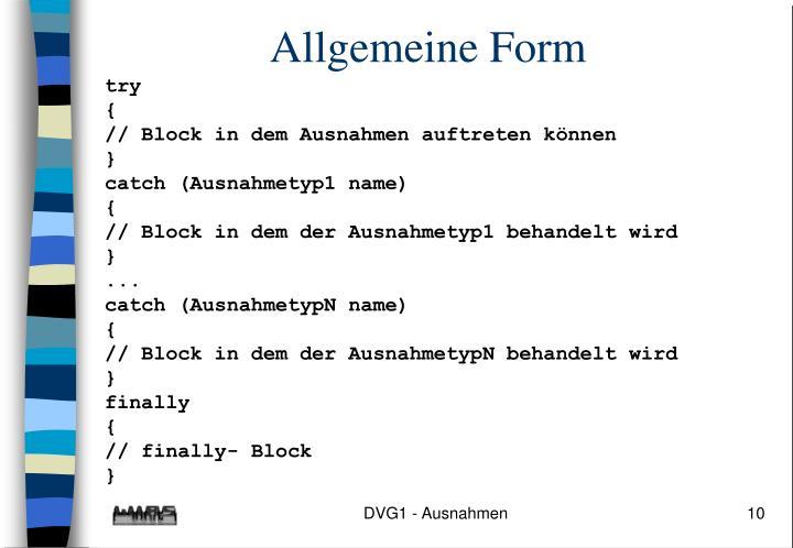 Allgemeine Form