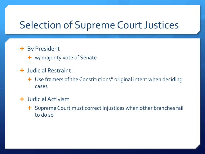 Selection of Supreme Court Justices
