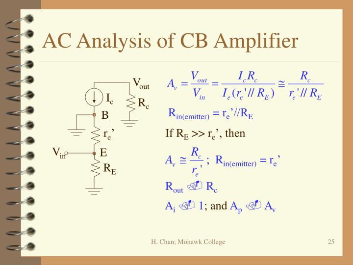 AC Analysis of CB Amplifier