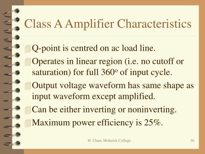 Class A Amplifier Characteristics