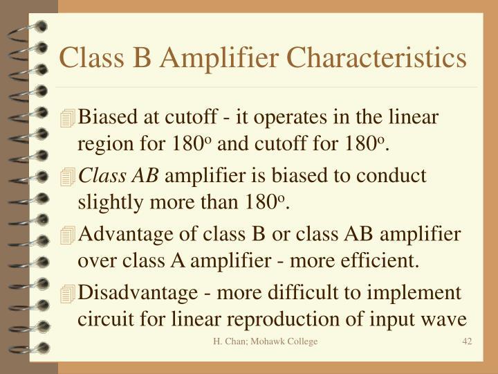 Class B Amplifier Characteristics