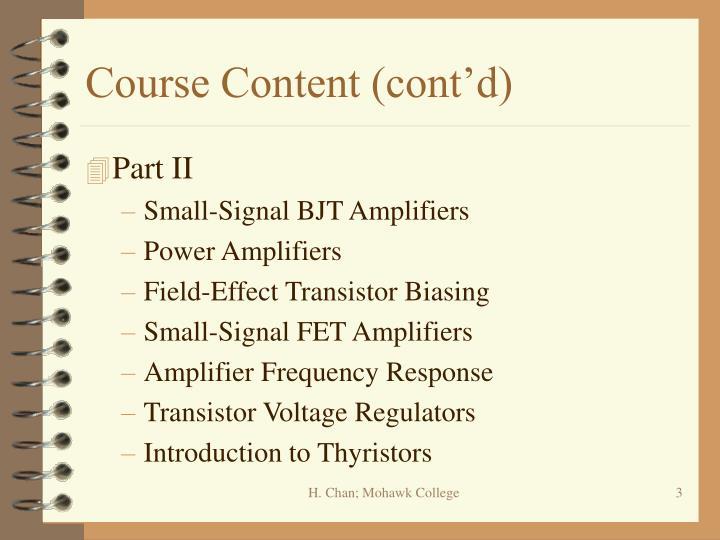 Course Content (cont'd)