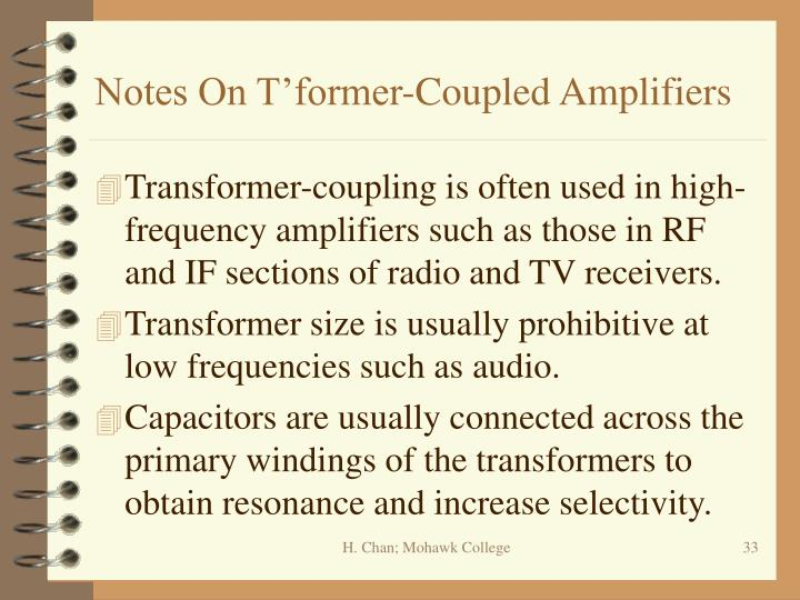 Notes On T'former-Coupled Amplifiers