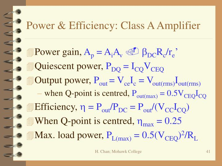 Power & Efficiency: Class A Amplifier