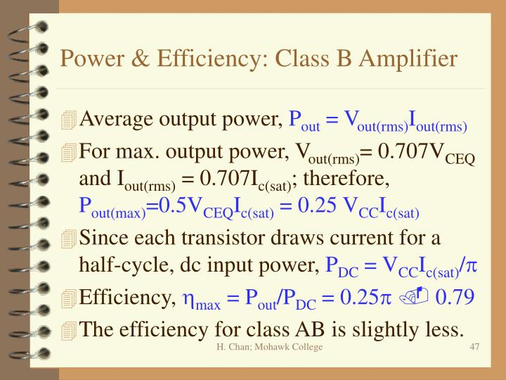 Power & Efficiency: Class B Amplifier