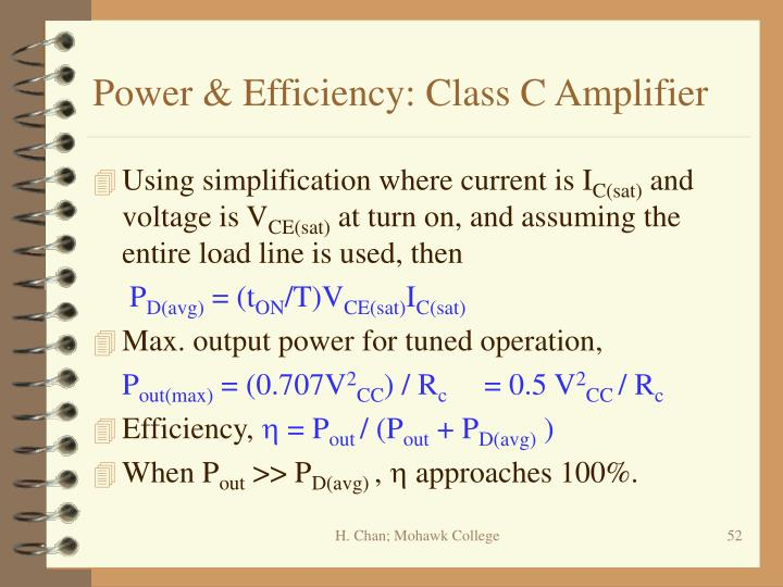 Power & Efficiency: Class C Amplifier