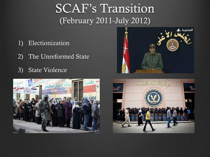 Scaf s transition february 2011 july 2012