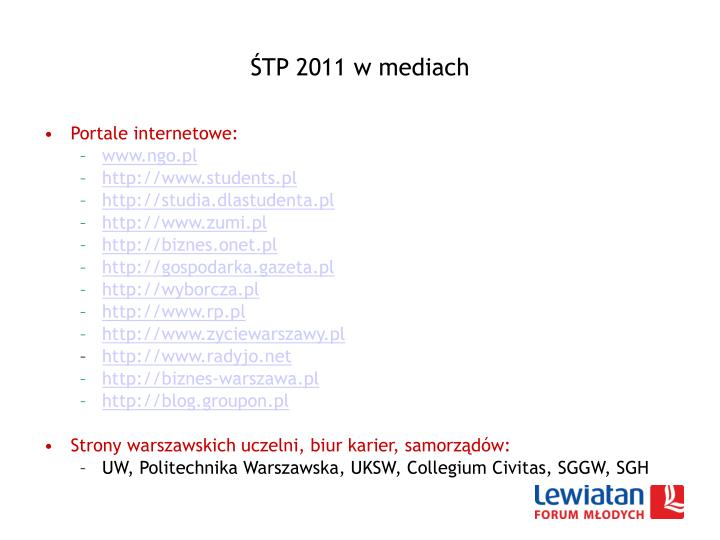 ŚTP 2011 w mediach