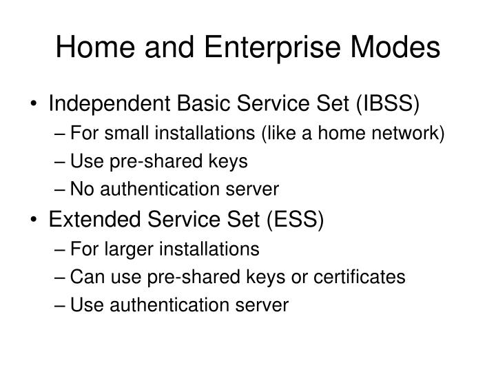Home and Enterprise Modes