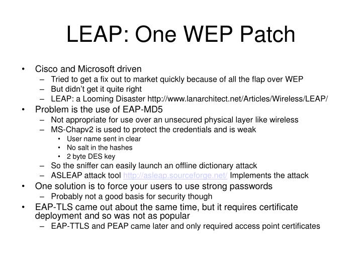 LEAP: One WEP Patch