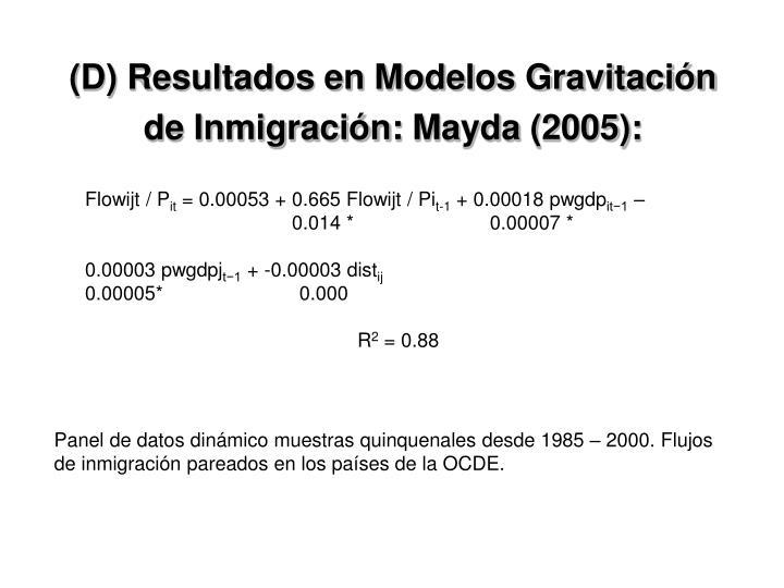 (D) Resultados en Modelos Gravitación de Inmigración: