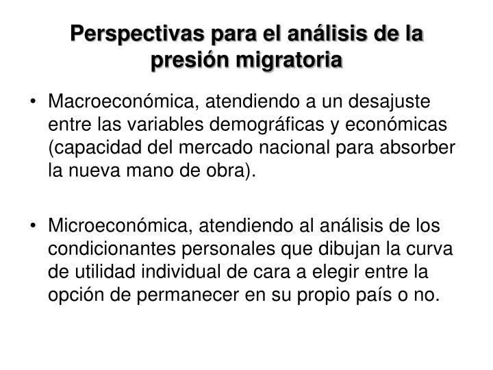 Perspectivas para el análisis de la presión migratoria