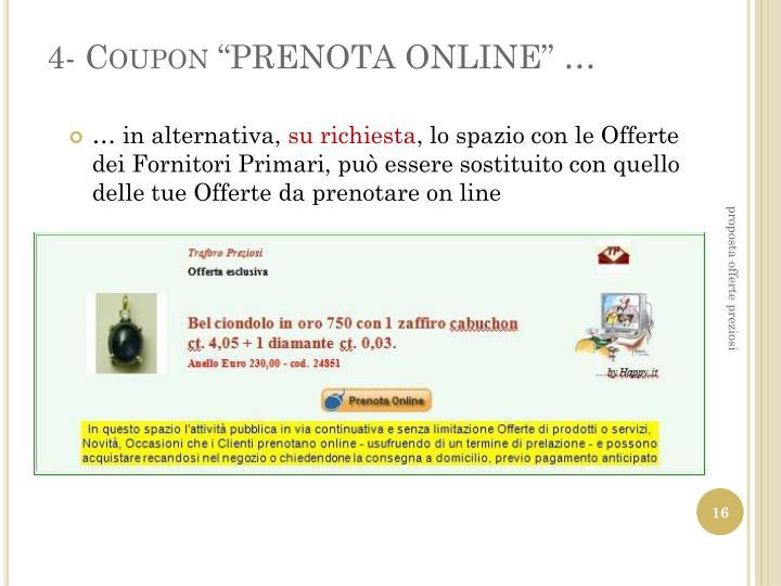 "4- Coupon ""PRENOTA ONLINE"" …"