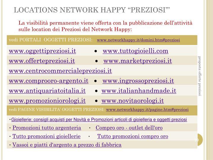 "LOCATIONS NETWORK HAPPY ""PREZIOSI'"""