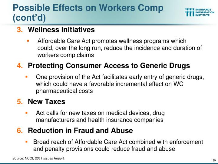 Possible Effects on Workers Comp (cont'd)
