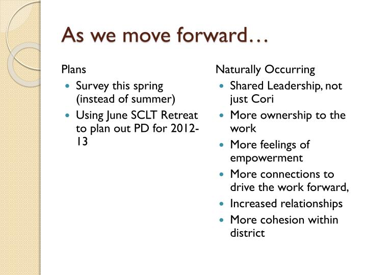 As we move forward…