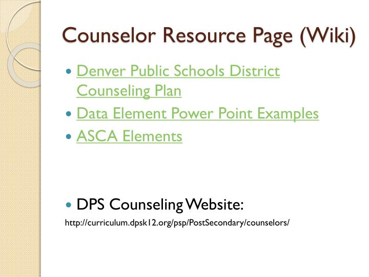 Counselor Resource Page (Wiki)