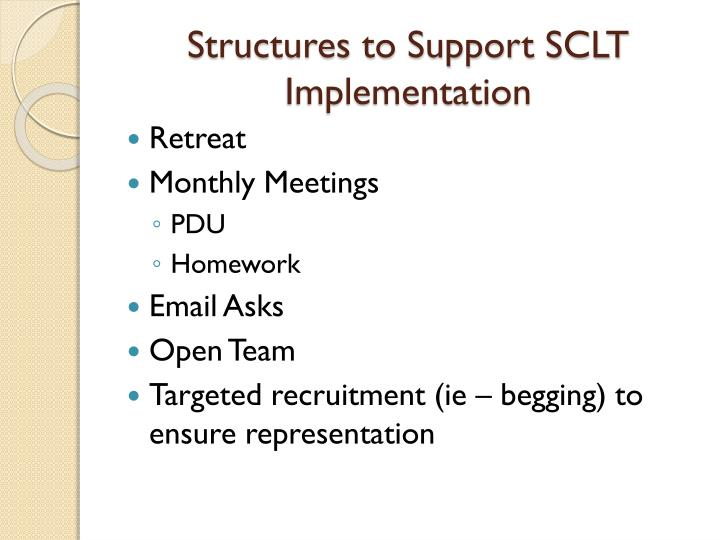 Structures to Support SCLT Implementation