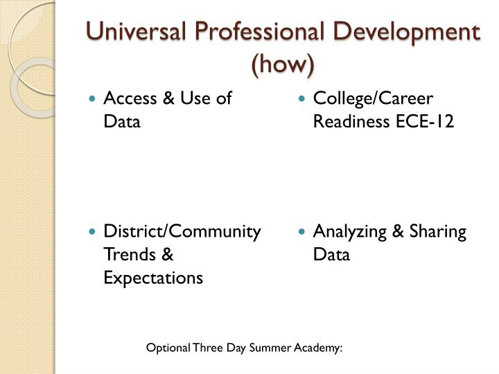 Universal Professional Development (how)