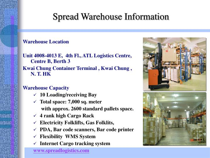 Spread warehouse information