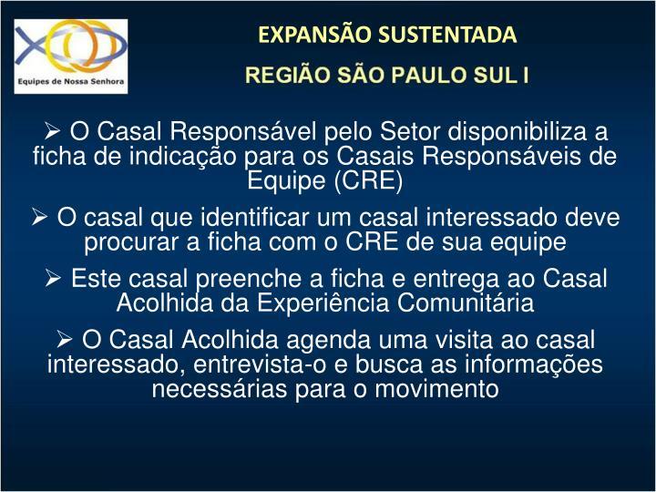 O Casal Responsvel pelo Setor disponibiliza a ficha de indicao para os Casais Responsveis de Equipe (CRE)