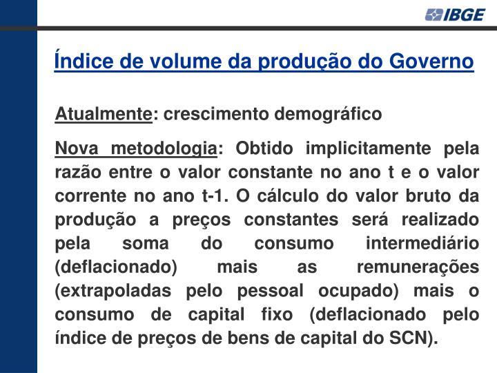 Índice de volume da produção do Governo